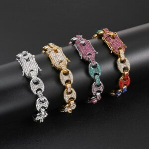 Multi Color Bling Iced AAA+CZ Puffed Mariner Gucci-Link Bracelet 12mm