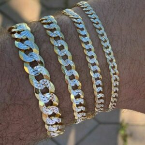 Men's Flat Miami Cuban Link Real Solid 925 Sterling Silver Women's 14k Gold Diamond Cut Bracelet