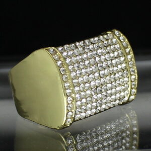 Men's Iced Out AAA+ CZ Stones Pinky Ring Rectangle Band Sizes 8 - 12 Jewelry Fashion Rings