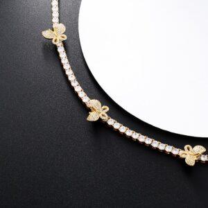 Women's Butterfly Charms 4mm AAA+CZ Rocks Tennis Choker Chain Necklace