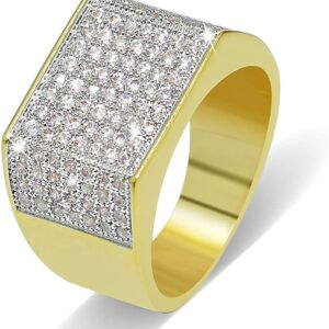 Men's Big Face Square AAA+ CZ Bling Pinky Ring