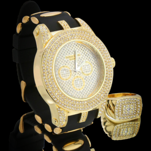 Men's Hip Hop Style Rectangle Curve Sided AAA+CZ Rocks Pinky Ring + Techno Watch Digital Rover Band