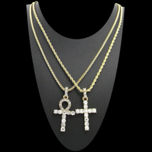 Men's Iced AAA+CZ Stones Egyptian ANKH Cross, Jesus Crucifix Pendants (Key of Life) With Box Chain Link And Italian Rope Necklace Set (20