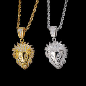 Men's Lion Face Pendant Iced AAA+ CZ Rocks Gold/Silver Italian Rope Chain Hip-hop