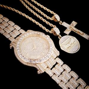 Men's Iced Watch, Jesus Cross And Last Supper Pendant Italian Rope Chain Set
