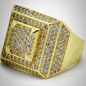 Men's Square 3D Dome Iced Out AAA+CZ Rocks Hip Hop Fashion Pinky Ring Sizes 7-12