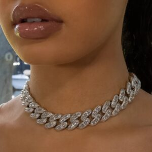 Women's Miami Cuban Choker Link Chain Necklace Iced Out Baguette Bling AAA+ Rocks
