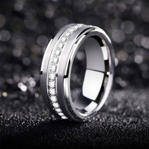 Men's High Polish Tungsten Carbide Promise, Wedding Band, Anniversary Rings 8mm Size 9-13 AAA+CZ White Rocks
