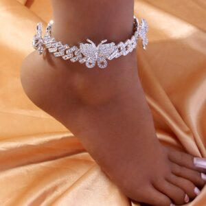 Women's Iced Out Butterfly Ankle Bracelet Miami Cuban Link Anklet