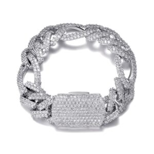 18MM 2 Rows Italian Figaro Cuban Link Bracelet Iced AAA+CZ Stones