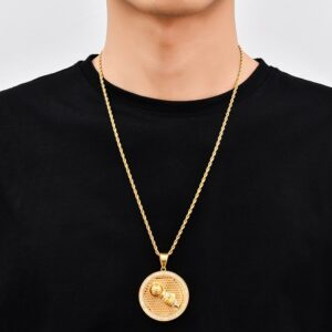 Men's Iced Out AAA+CZ Large Round Hip-hop Pass Da Mic Pendant With Italian Rope Chain Necklace, Stainless Steel Rapper Rope Chain