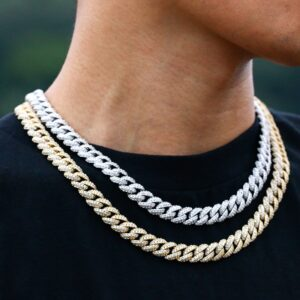 10mm Iced Out AAA+ Bling Miami Cuban Link Necklace Or Bracelet Hip Hop Rapper Jewelry