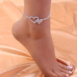 Women's Double Heart Anklet Love Hearts Ankle Bracelet Iced Out AAA+CZ Rocks Anklet Bling Silver/Gold