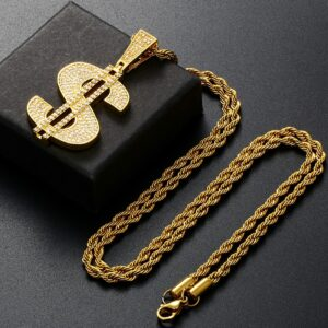 Classic Hip-Hop Money Dollar Sign Pendant Iced-Out With Cuban Link, Rope Chain Necklace