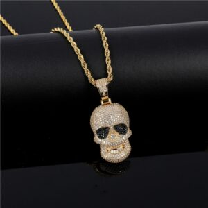 Fully Iced Out AAA+ Zircon Bling Skull Head Pendant With Rapper Rope Chain Necklace