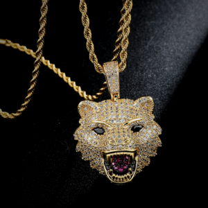 Men's Iced Out Tiger Head Pendant AAA+ Bling & Italian Rope Chain Necklace