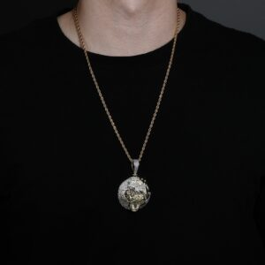 Iced AAA+ Bling Round Gorilla Pendant With 4mm Italian Rope Chain Necklace