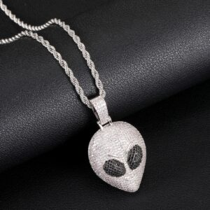 Fully Iced Alien Head Skull Pendant AAA+CZ Stones Gold/Silver Rope Chain Necklace