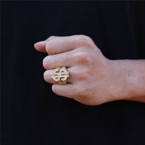 Classic Hip-Hop Dollar Sign Pinky Ring Iced-Out AAA+CZ Stones Rappers US Dollar Signets Rings
