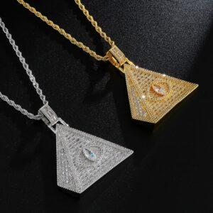 Iced Egyptian Pyramid Pendant AAA+CZ Illuminati Eye Of Horus With Rope Chain Necklace