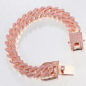 12MM Full Iced AAA+CZ Miami Cuban Choker Link Chain Necklace And Bracelet Jewelry Set