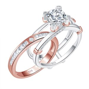Women's 2 Pcs Solid 925 Sterling Silver Round Solitaire Engagement Ring Set Rose & Silver Color Wedding Band AAA+ Zircons