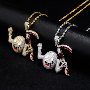 Dope AF Smiley Face Pendant Fully Iced Out AAA+CZ Little Devil Charm, Free Rope Chain Necklace