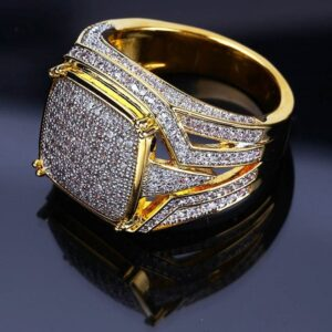 Men's Big Square Iced AAA+ Bling Micro Pave Zircon Pinky Ring