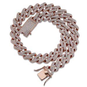 Men's Miami Cuban Chain Iced Out AAA+ Zircon Bling Necklace, Cuban Link, Women's Cuban Choker