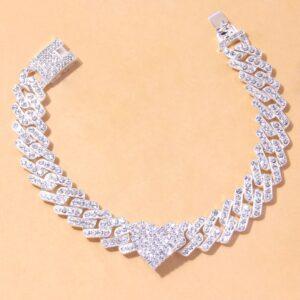 Women's 12mm AAA+ Bling Heart Charm Miami Cuban Link Ankle Bracelet Jewelry
