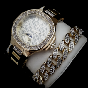 Men's Fully Iced AAA+CZ Stones Gold/Black Watch And Iced Out Cuban Link Bracelet Set