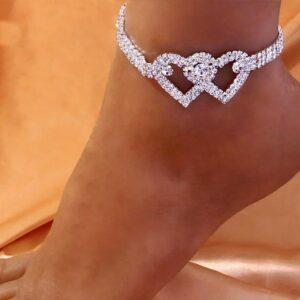 Women's Double Heart Ankle Bracelet Fashion Jewelry AAA+ Bling Anklet