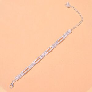 Women's Fashion AAA+CZ Stone Multi-layer Mesh Ankle Bracelet Jewelry Anklet