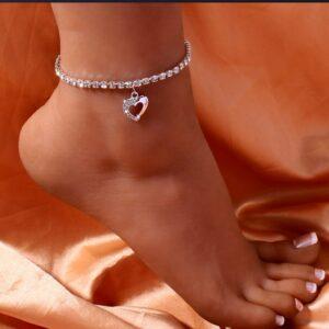 Women's Tennis Love Heart Anklet AAA+CZ Stones Gold/Silver Ankle Bracelets