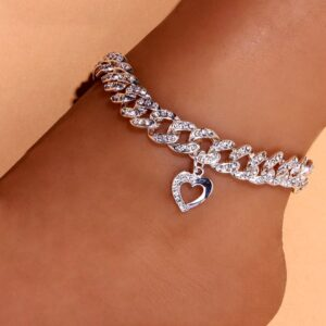 Women's Cute Chunky Heart Charm Anklets 12mm Miami Cuban Link Ankle Bracelet