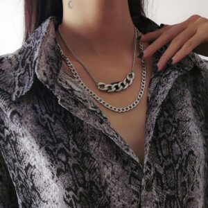 Women's Multi-layer Cuban Chain Necklace Sliver-Color Thick Punk Fashion Jewelry