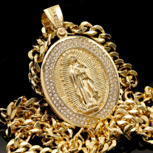 Men's XL AAA+Cz Oval Guadalupe Pendant Long 30