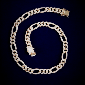AAA+CZ Stone 10mm Figaro Chain Link Necklace Hip Hop Fashion Punk Rock Fashion Jewelry