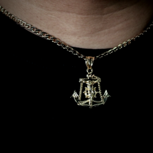 Solid 18kGP Jesus Anchor Pendant With 20