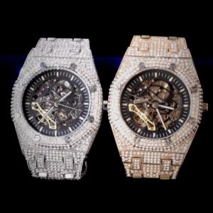 Men's Skeleton Front & Back Mechanical Round Dial Waterproof Wrist watch AAA+CZ