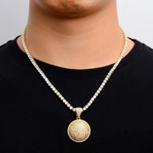 Round Globe Pedant With AAA+CZ Tennis Necklace Chain