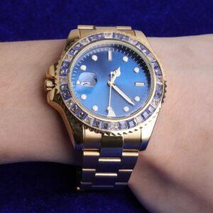 Men's Waterproof Steel Quartz Wristwatches Hardlex Dial AAA+CZ Rocks Watches