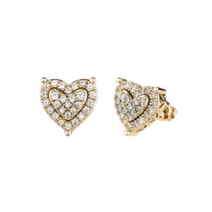 Women's Heart Shaped Earrings AAA+CZ Stones Heart Stud Earrings