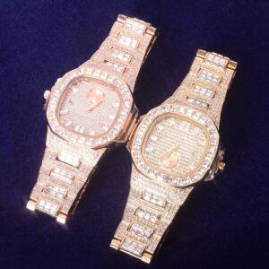Men's Square Big Dial Baguette Cut AAA+ Bling Watch Waterproof Hip Hop Wristwatch