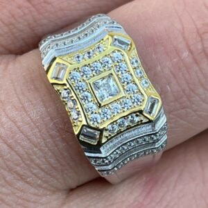 Real Solid 925 Silver Lab-Diamond AAA+ Iced Out Baguette Men's Pinky Ring Sizes 6 -13