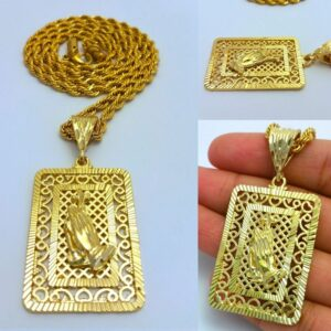 Square Paying Hands Pendant With Cuban Link, Rope Chain, Or Franco Chain