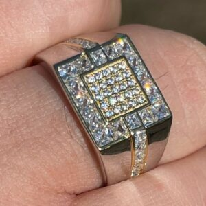 Men's Solid 925 Sterling Silver Pinky Ring Iced Out AAA+CZ Sizes 6-12