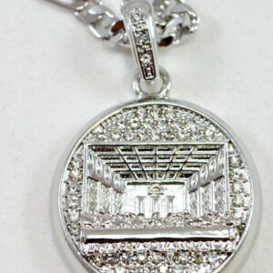 Iced Out Round Silver Last Supper Pendant With 24