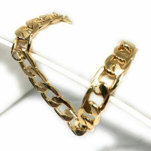 "Men's Diamond-Cut 14k Gold Plated Cuban Link Bracelet 9"" 9mm Width"