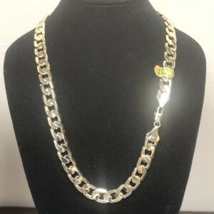 14k Gold Plated 12mm Flat Cuban Link Chain Necklace